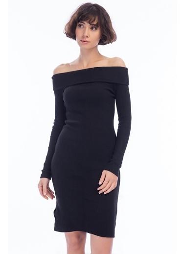 Cottonmood 9424312 Kalın Lyc.Kaşkorse Omuzu Düşük Uzun Kol Elbise Siyah